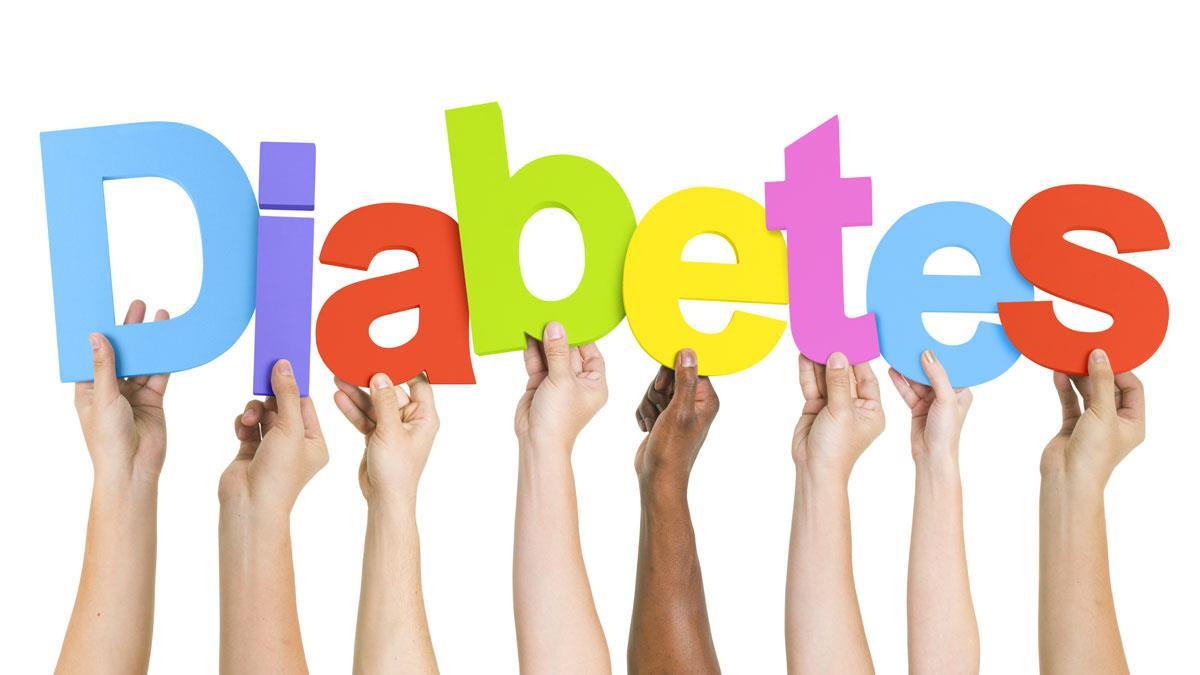 mãos de pessoas segurando as letras da palavra diabetes