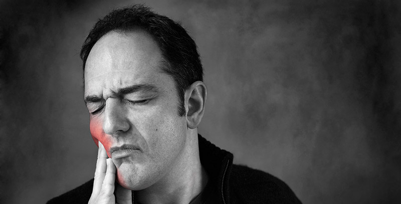 homem com dor no rosto ilustração vermelha